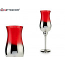 wholesale Drinking Glasses: silver and red large glass cup
