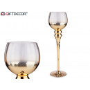 gold and transparent large glass candle holder