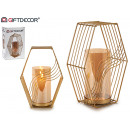 wholesale Home & Living: golden hexagonal crystal candle holder