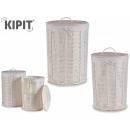 set of 2 white round laundry basket