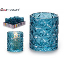 glass candle holder glass diamond blue