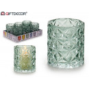 wholesale Kitchen Utensils: glass candle holder glass diamond green