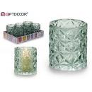 glass candle holder glass diamond green