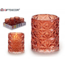 glass candle holder glass diamond red