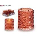 glazen kandelaar glas diamant rood
