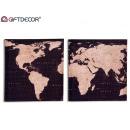 Tela per mappa del mondo 28x28 cm, 2 volte assorti