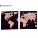 grossiste Cadeaux et papeterie: toile carte du monde 40x40 cm, 2 fois assorti