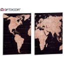 canvas 50x70 cm world map, 2 times assorted