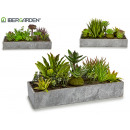 wholesale Artificial Flowers: small gray planter, 3 times assorted
