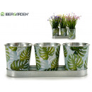 wholesale Garden Equipment: set of 3 round planters leaves tray