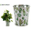 grossiste Plantes et pots: jardinière en métal rond petit cactus