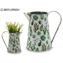 metal planter pitcher cactus