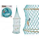 décor panier rond 29x76cm coloris turquoise