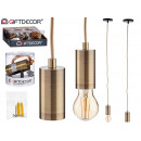 lampada a sospensione in acciaio dorato