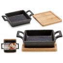 small square iron tray / band.bamboo