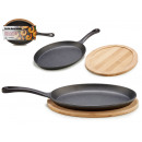 wholesale Pots & Pans: large iron oval pan w / band. bamboo