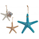 fine polyresin sea star small, 3 times assorted