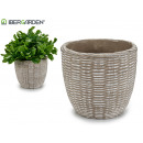 groothandel Tuinmeubelen: rieten reliëf conische cementpot