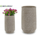 wicker embossed cylinder cement vase