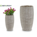 wicker relief conical cement vase
