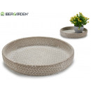 plate cement embossed wicker curved edge