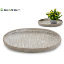 plate wicker embossed oval cement