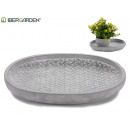 plate oval wicker embossed cement