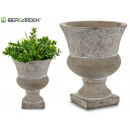 wholesale Drinking Glasses: cement cup with deco assorted leaves