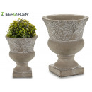 wholesale Home & Living: small cement cup deco assorted leaves