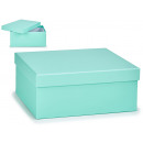 large pastel blue cardboard box