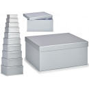 set of 10 silver cardboard boxes