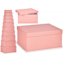 set of 10 pastel pink cardboard boxes