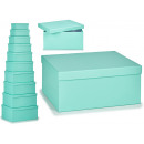 set of 10 pastel blue cardboard boxes
