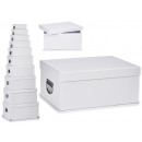 set of 10 white cardboard boxes metal handles