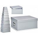 set of 10 cardboard boxes silver metal handles