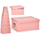 set of 10 cardboard boxes pink past handle metal