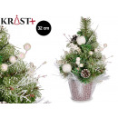 green christmas tree white ornaments