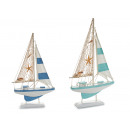 wooden boat sailboat star 2col assorted