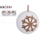 set of 3 balls white christmas snow 8 cm