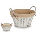 wholesale Other: round wicker basket with white handles