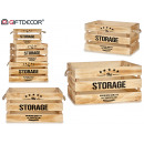 wholesale Cremes: set of 3 natural wood boxes the storage