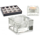 transparent square glass candle holder