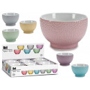 breakfast bowl 680ml baroque relief, 6-fold colors