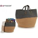 basket oval fabric sack gray
