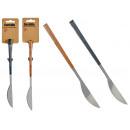 couteau à manche en bois naturel et gris assorti