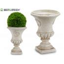piccolo vaso per fiori in resina color crema