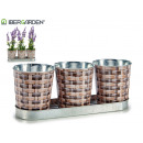 set of 3 round plant pots wicker tray