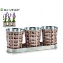 grossiste Outils de jardin: set de 3 cache-pots ronds en osier