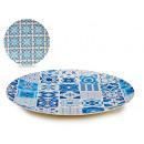 plate 25cm bamboo fiber, 2 times assorted tiles