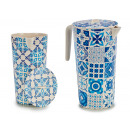 fiber jar 1,2l bamboo, 2 times assorted tiles